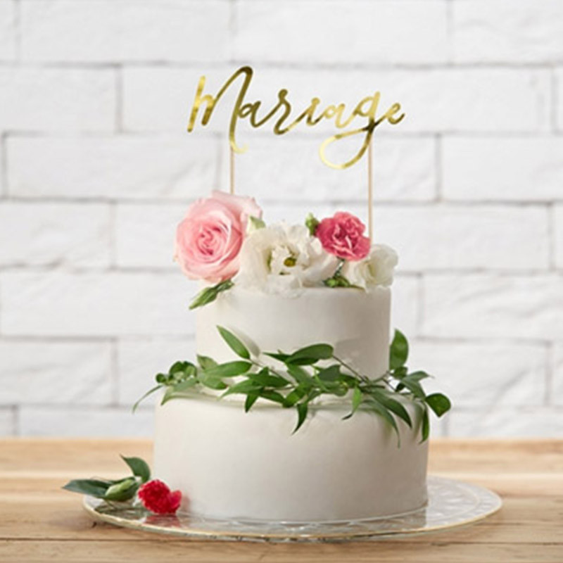 Cake Topper Mariage Or