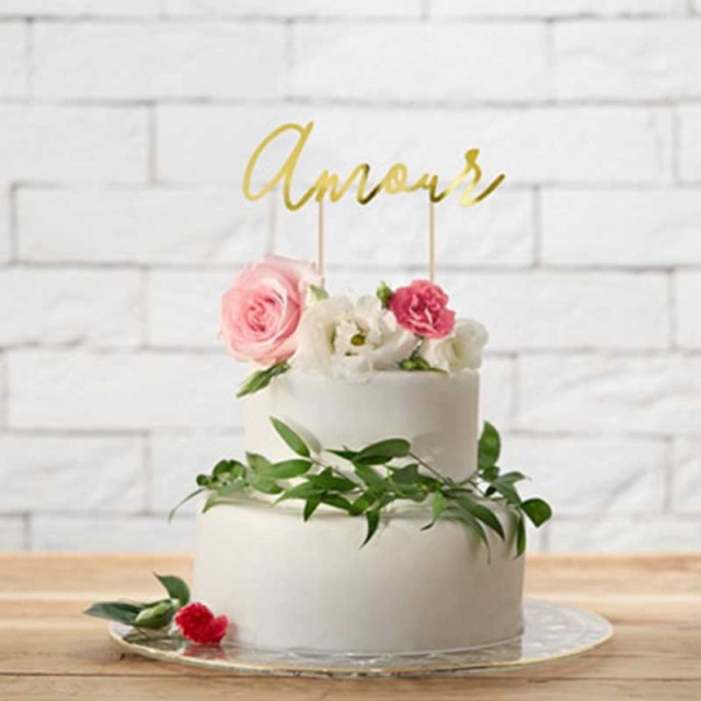 Cake Topper Amour Or