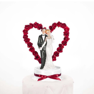 Figurine Couple Mariage Coeur Rouge
