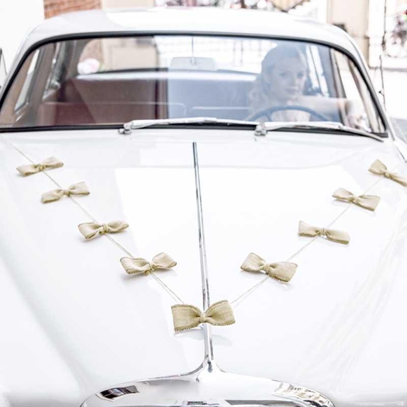 kit d co voiture mariage noeuds jute. Black Bedroom Furniture Sets. Home Design Ideas