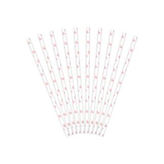 10 Pailles blanche et coeur rose