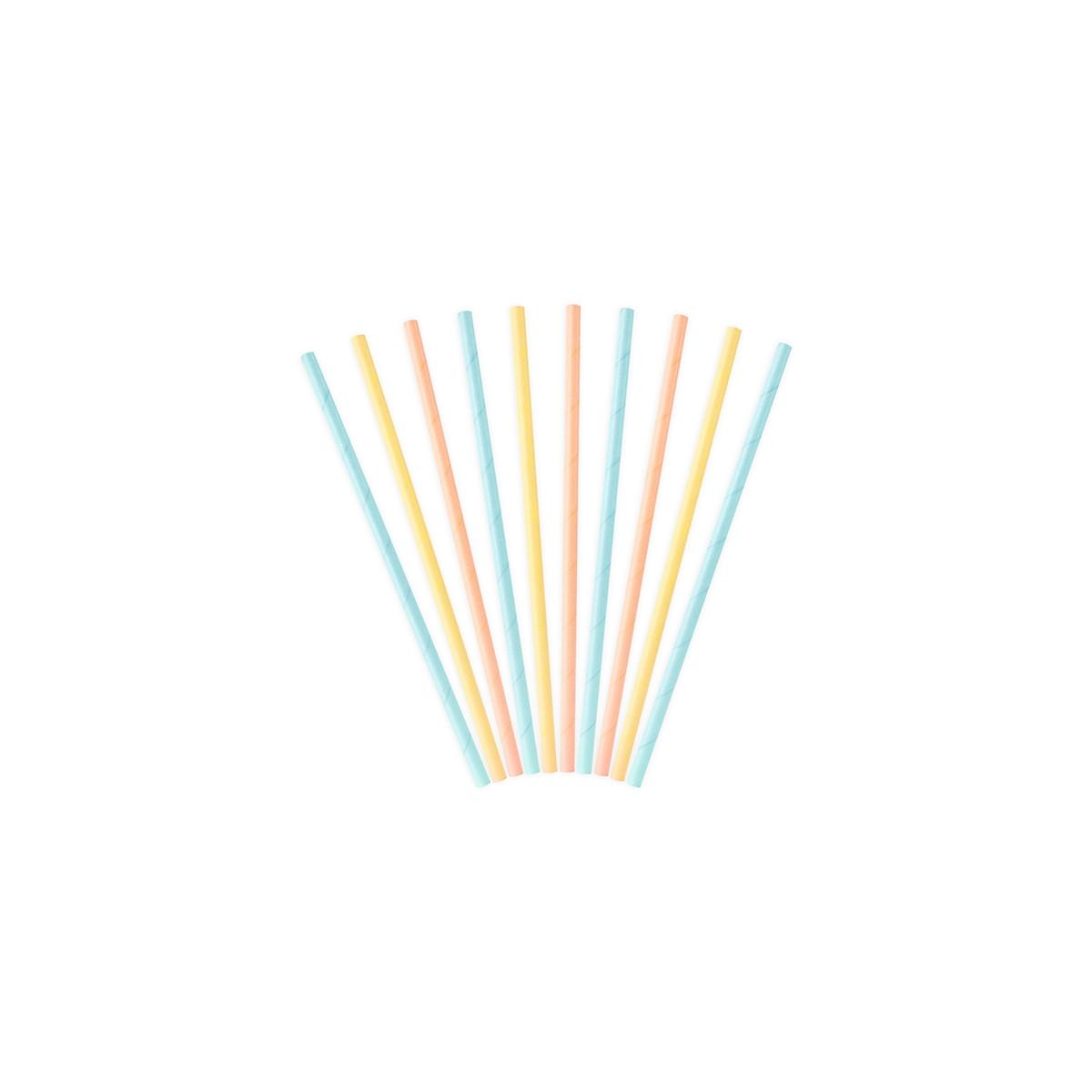 10 pailles jaunes, bleues, rose
