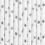 10 pailles blanches étoiles argentées