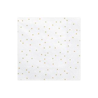 20 serviettes en papier blanches et points dorés