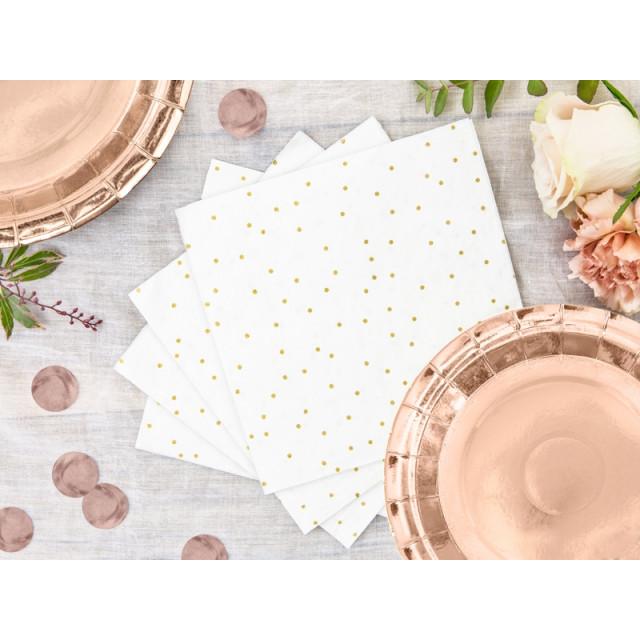 20 serviettes en papier blanches et point dorés