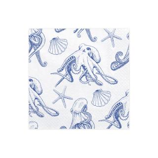 x20 Serviettes papier blanc et dessins marins