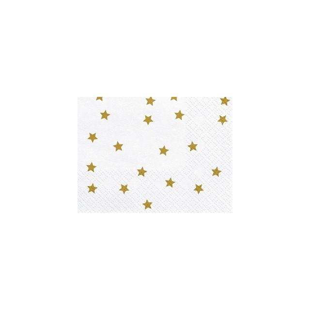 20 serviettes en papier blanches et étoiles dorées