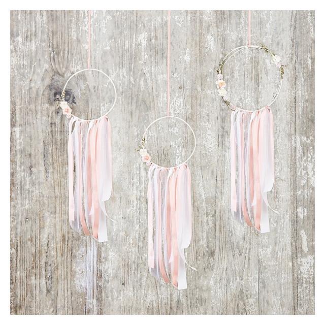 Décoration Attrape rêve Blanc Rose