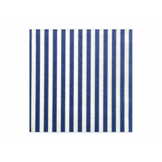20 serviettes papier rayées blanches et bleu marine