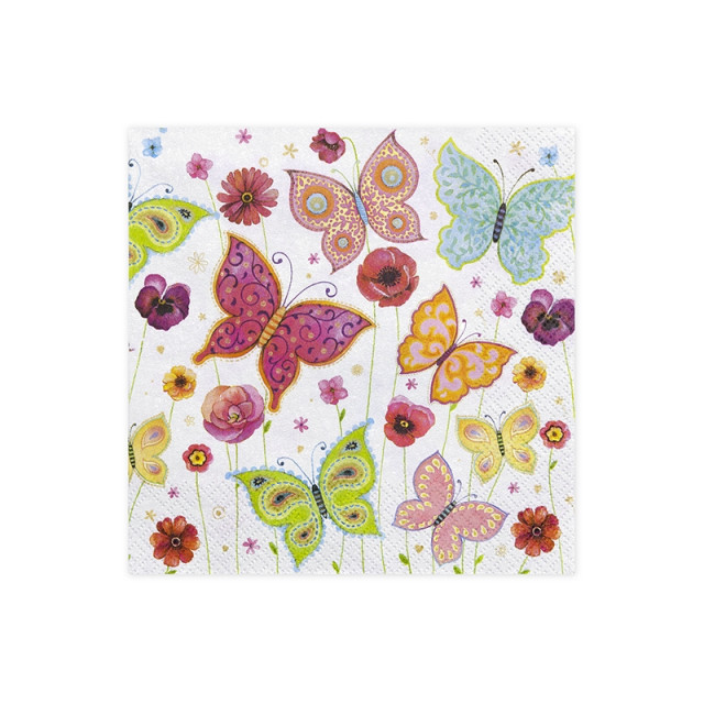 x20 Serviettes Blanches et Papillons