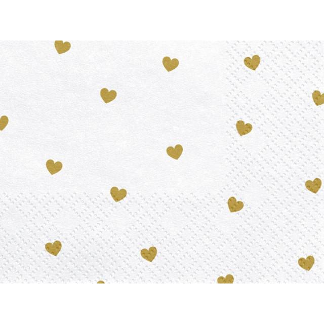 20 serviettes en papier blanches et coeur dorés