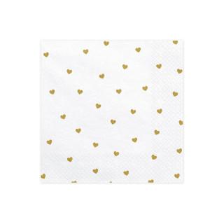 20 serviettes en papier blanche et coeur dorés