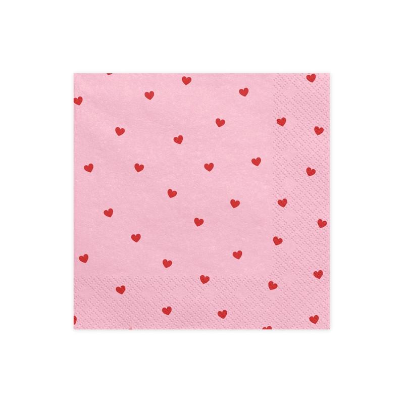 x20 Serviettes papier Rose et cœurs Rouges