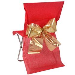 Housse de chaise noeud rouge et or métallisé x 4