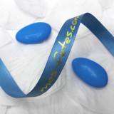 Ruban personnalisé satin bleu - 10 Mètres