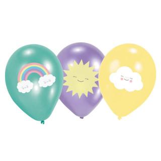 6x Ballon de baudruche Rainbow & Nuage