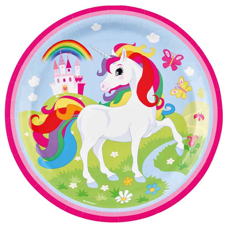 x8 Assiettes Licorne Rose