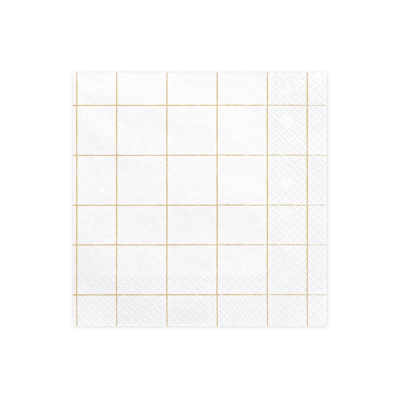 x 20 Serviettes papier blanches cadrillage dorés