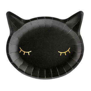 x6 Assiettes Chat Noir