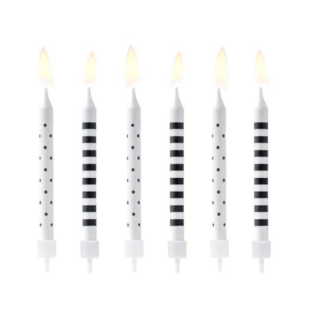 x6 Bougies anniversaire Noires et Blanches 6,5 cm
