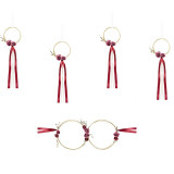 Decoration Voiture Mariage Rotin et ruban Rouge