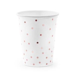 x6 Gobelet Blanc avec pois rose gold