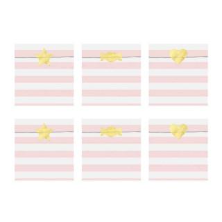 x6 Sachets Anniversaire Rayé rose blanc avec stickers