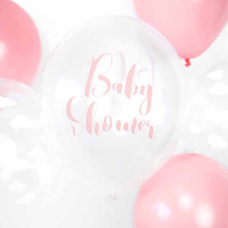x6 Ballon Baby Shower transparent écriture rose 30 cm