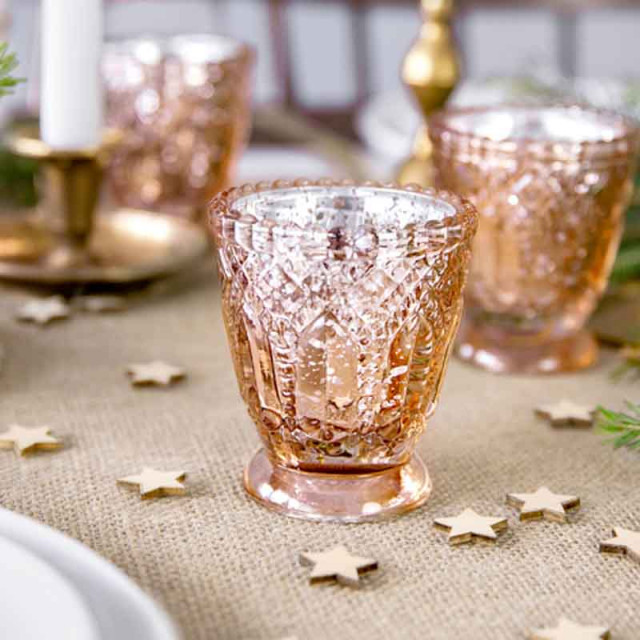 x4 Bougeoir verre Rose Gold 8 cm