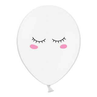 x6 Ballons yeux smiley blanc