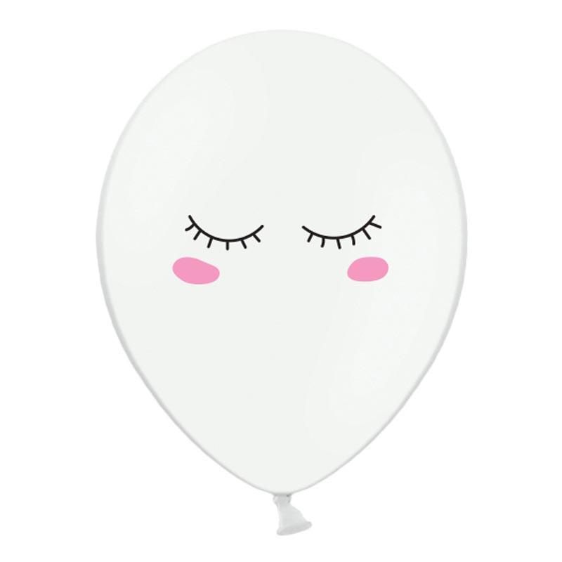 x6 Ballons yeux smiley blanc