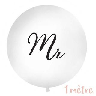 """Ballon géant baudruche """"Mr"""" 1 mètre - Blanc"""