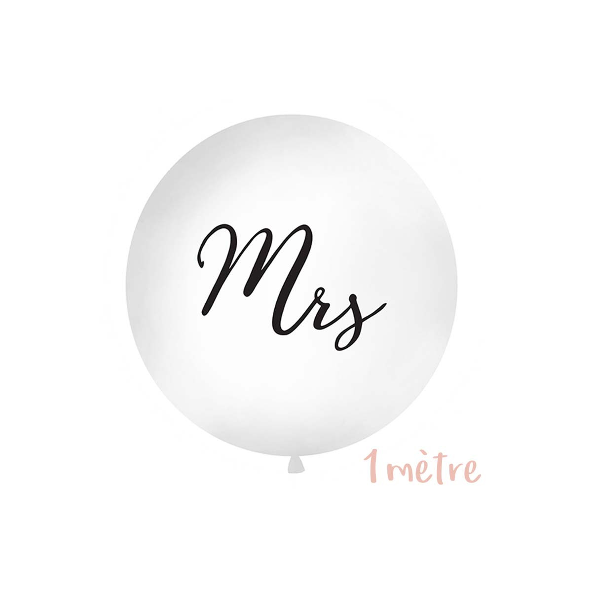 "Ballon géant baudruche ""Mrs"" 1 mètre - Blanc"