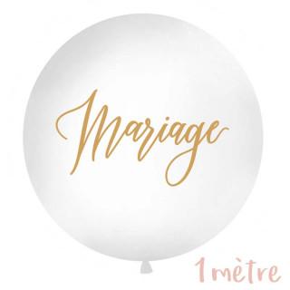 "Ballon géant baudruche ""Mariage"" 1 mètre - Blanc"
