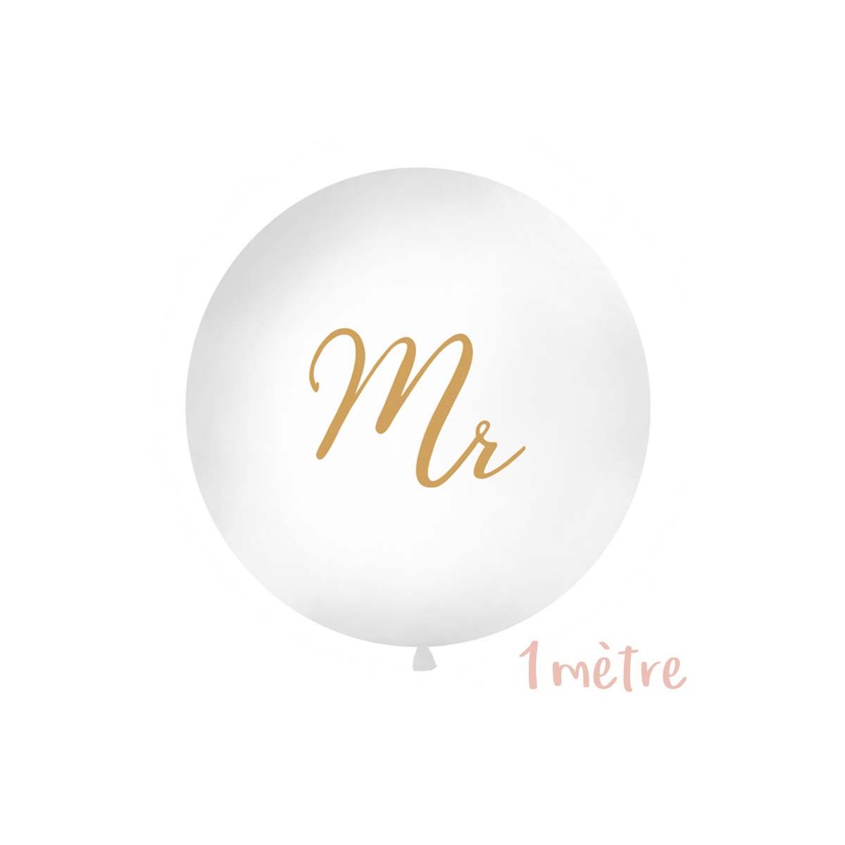 """Ballon géant baudruche """"Mr"""" en or 1 mètre - Blanc"""