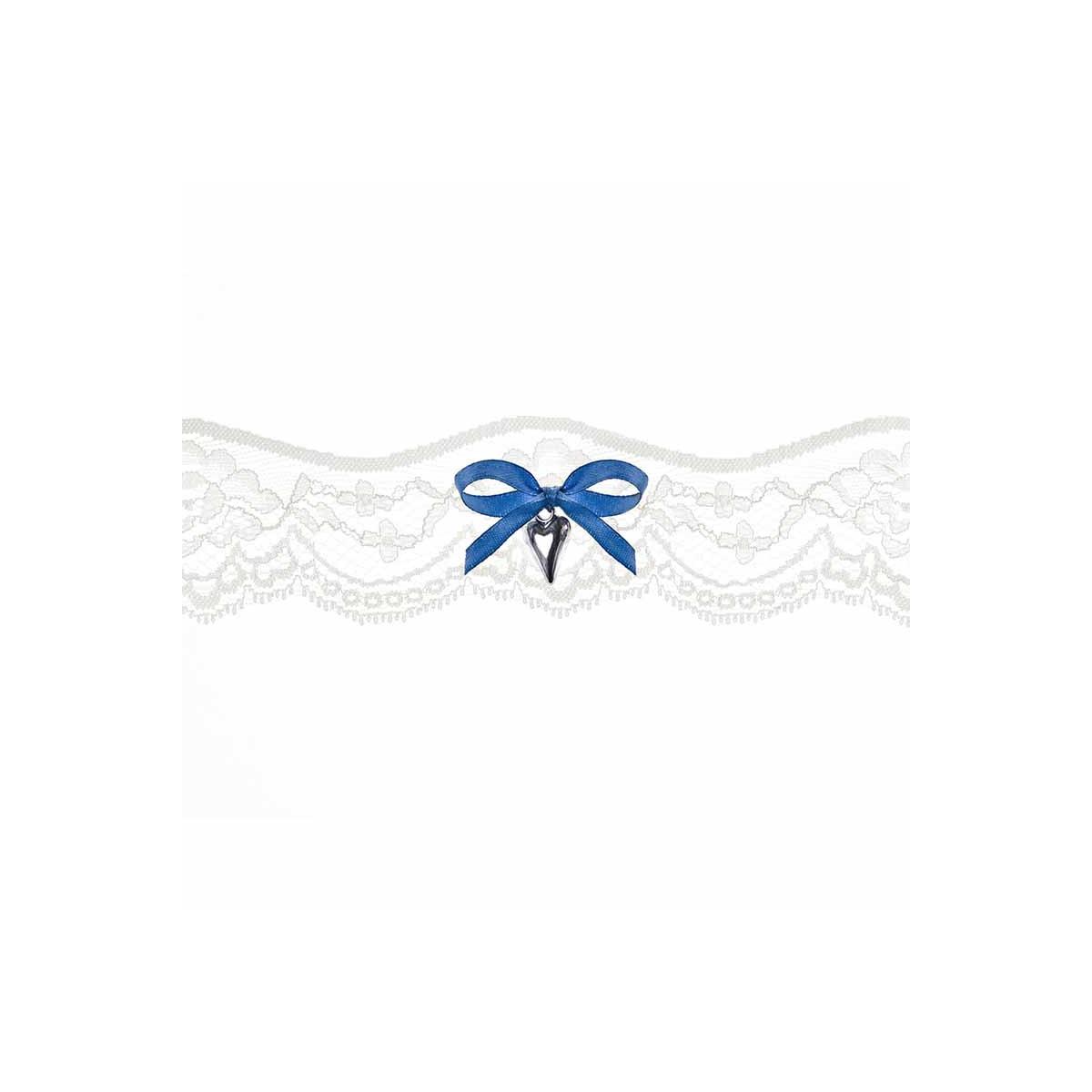 Jarretière Mariage blanche et noeud bleu