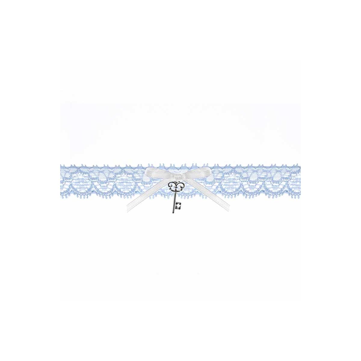 Jarretière Mariage bleue ruban blanc et clef