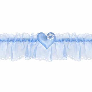 Jarretière Mariage bleu coeur et perle blanche