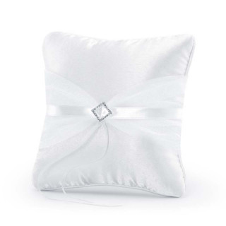 Coussin d'alliance en Satin Ruban et Strass