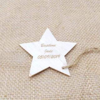 x1 Etiquette étoile en bois personnalisée