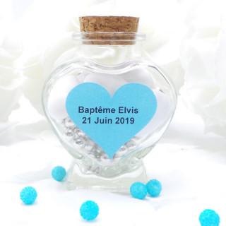 x24 Étiquettes personnalisées coeur bleu