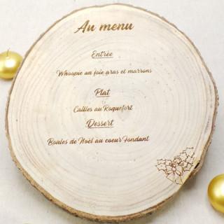 Menu personnalisé rondin de bois