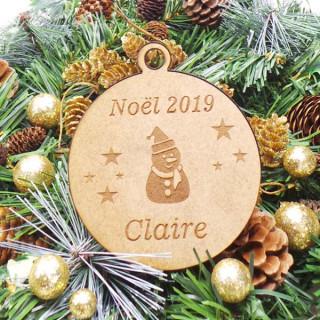Boule Noël Personnalisable en bois Bonhomme de Neige
