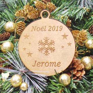 Boule Noël Personnalisable en bois Etoile