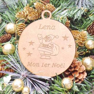 Boule Noël Personnalisable en bois Père Noël