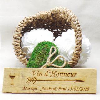 Pancarte mariage Vin d'honneur personnalisé en bois