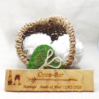 Pancarte mariage Open-Bar personnalisé en bois