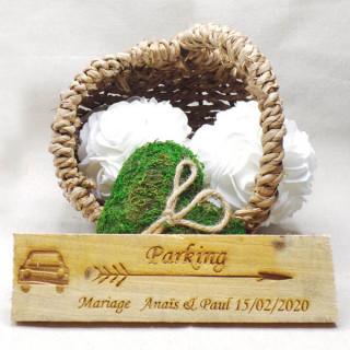 Pancarte mariage Parking personnalisé en bois