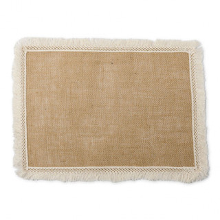 Set de table rectangle jute et franges 40 x 30 cm