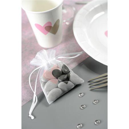 Sachet Dragées Coeur Rose x 6